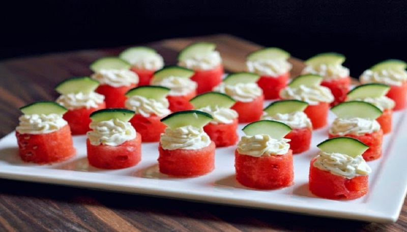 Watermelon Goat Cheese Bites
