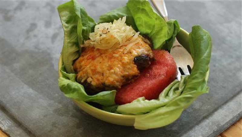 Ssamjang Burger with Watermelon and Kimchee
